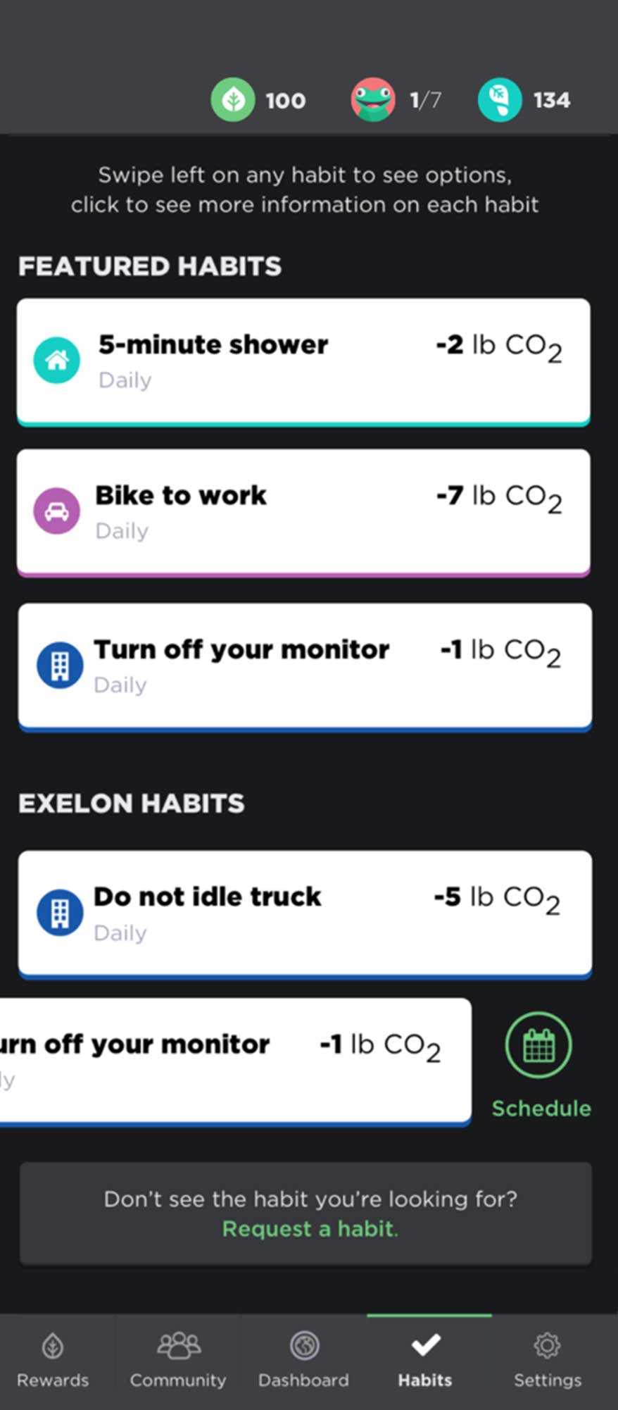 Featured habits screen where users can see and complete habits to reduce their footprint.