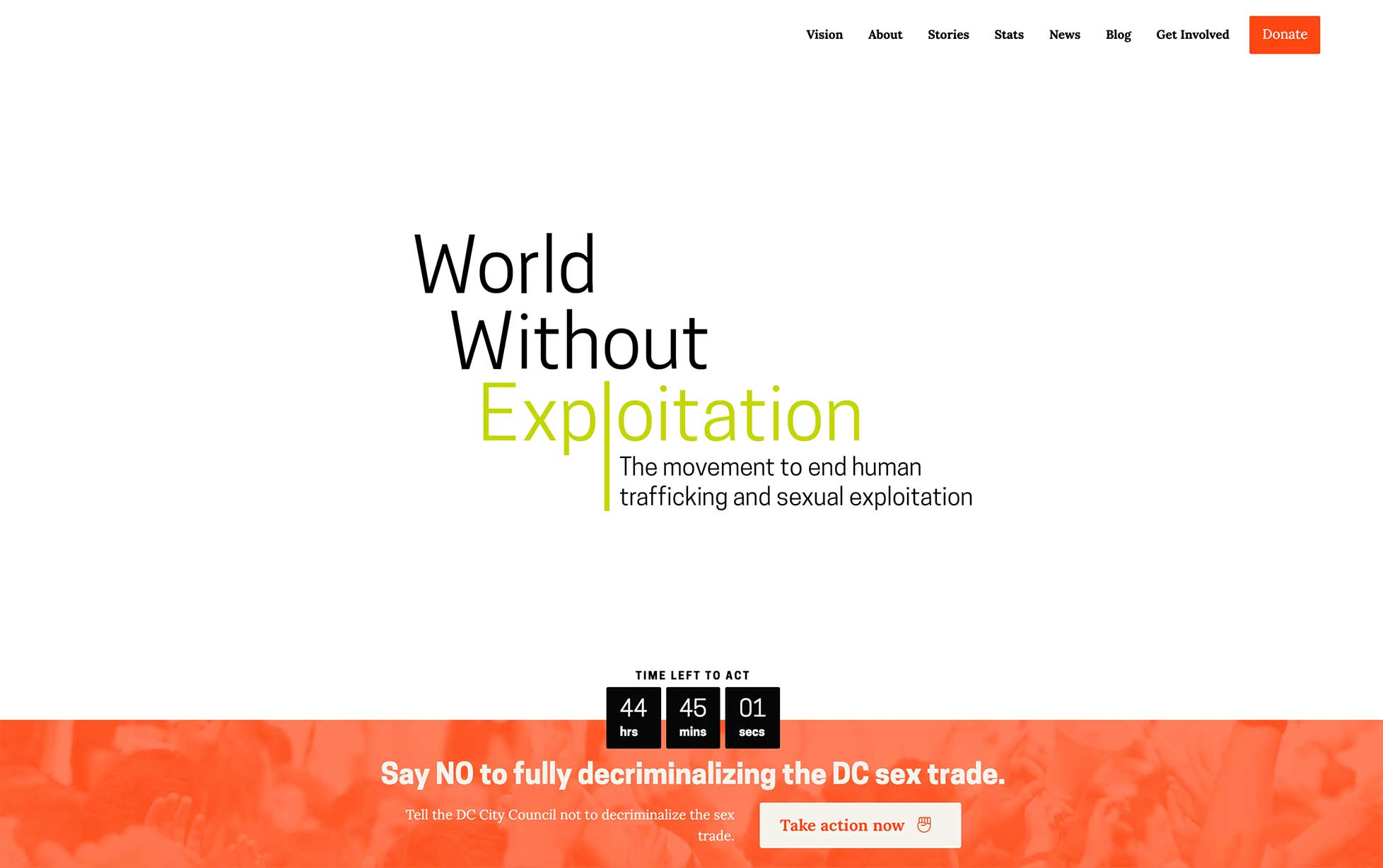 The World Without Exploitation homepage, showing the new logo and a red banner with an urgent action initiative for visitors to take.