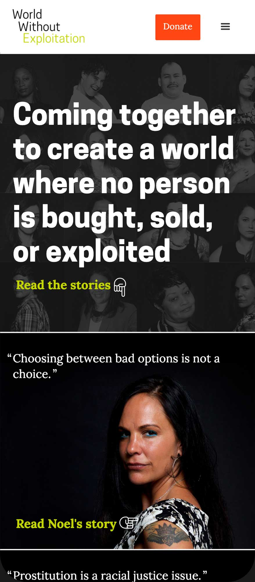 Mobile version of the homepage, showing the tagline: Coming together to create a world where no person is bought, sold, or exploited.